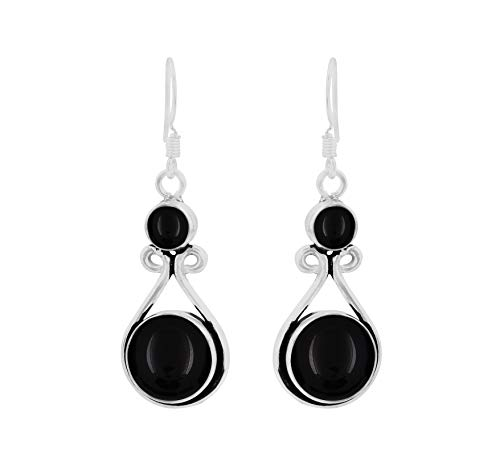 (Genuine Round Shape Black Onyx Dangle Earrings 925 Silver Overlay Handmade Fashion Jewelry For Women Girls)