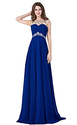 Babyonline Sexy Backless Beaded Chiffon Long Evening Gown 2016 Prom Dress
