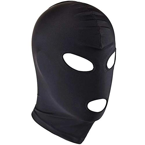 ZILucky Halloween Breathable Unisex Blindfold Face Cover Spandex Tight Open Eye Mouth Full Hood Mask Cosplay Costumes (Eyes & Mouth Holes)