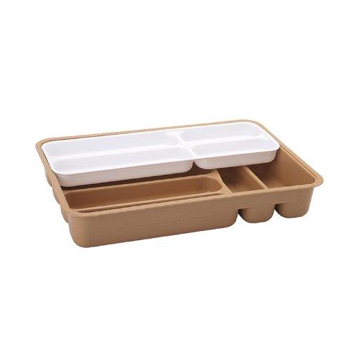 Juypal 161 - Cubertero de cajón + Bandeja Doble de 42 x 29 x 7 cm, Color Plateado