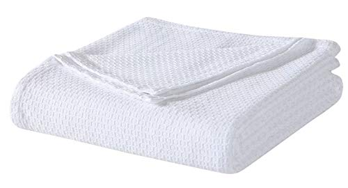 Homvare Full/Queen Super Soft Cotton Float Weave Blanket/Throw White 90