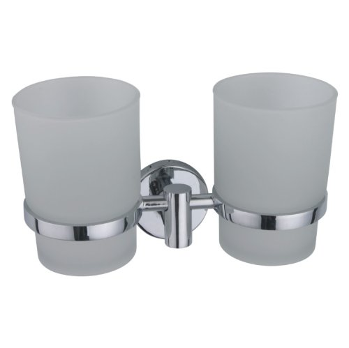Clix Range Wall Mounted Double Glass Tumbler & Holder - in Polished Chrome by EUROART