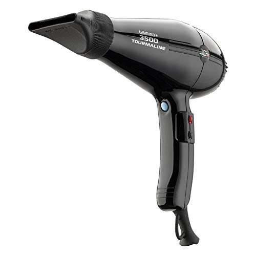 GAMMAPIÙ PIÙ 3500 Tourmaline - Ionic Hair Dryer with Powerful Professional AC Motor, Highest Power and Heat, Made in Italy by GammaPiu - Black