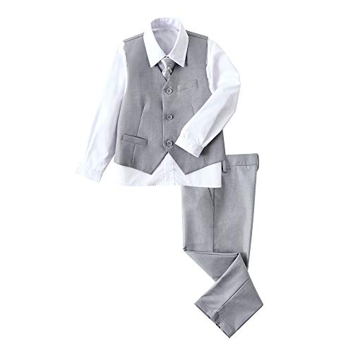 YuanLu Boys Gray Suit for Boy Vest Set with Pants Shirt and Tie Kids Outfit Size 7 ()