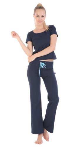 Colorfulworldstore Yoga fitness Workout clothing suits 2 sets(Short sleeve Yoga shirts+Drawstring Yoga Pants) (M 150~160CM >=48KG, light blue)