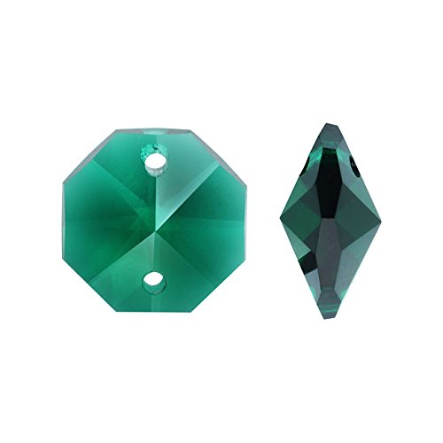 Old-fogyish Czech Crystal, Faceted 2-Hole Octagon Chandelier Trimmings 14mm, 2 Pieces, Emerald