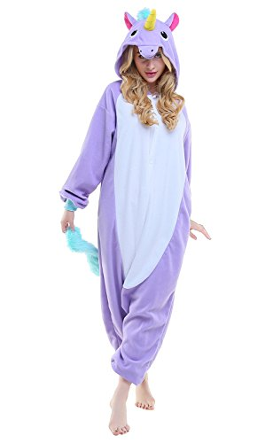 Unicorn Costumes Child (Children Unisex Halloween Cosplay Pajama Animal Unicorn Kids Costume (125, Purple New)