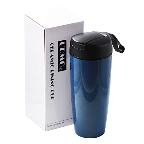 UDMG Ceramic Lining Thermal Tumbler Spill Proof Travel Coffee Mug Sport Water Bottle 20oz (Navy)