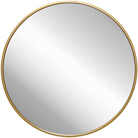 """Gold Circle Wall Mirror 24 Inch Round Wall Mirror for Entryways, Washrooms, Living Rooms and More (Gold, 24"""")"""