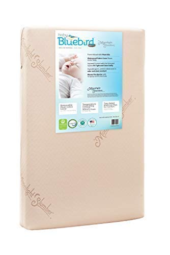 Baby Bluebird Waterproof Portable Crib /& Toddler Bed Mattress Cool Gel Memory Foam Removable Plush Cotton Cover Hand Made in USA Moonlight Slumber Mini Crib Mattress 5 Dual Firmness