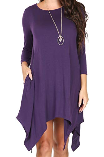 (iliad USA P1136 Womens 3/4 Sleeve Hankerchief Hem Pockets Casual T-Shirt Dress Eggplant XL)