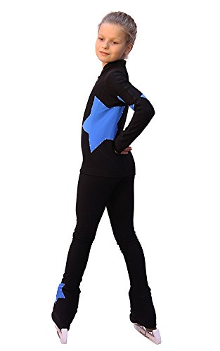 IceDress Figure Skating Outfit Star (with Pants) (Black with Blue)