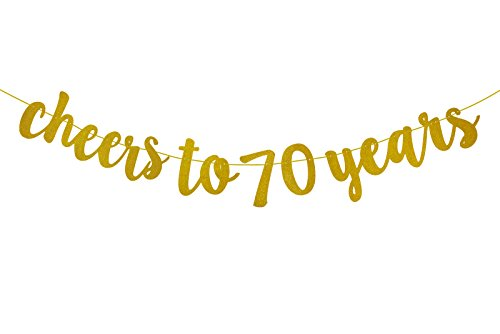 Fecedy Gold Glitter Cheers to 70 years Banner for 70th Birthday Party (70 Party Decorations)