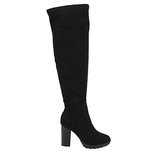 Women's Black Zip Inside Half Knee Reneeze Platform Boots Heel AD98 High Over Chunky Ow5qwxI7tE