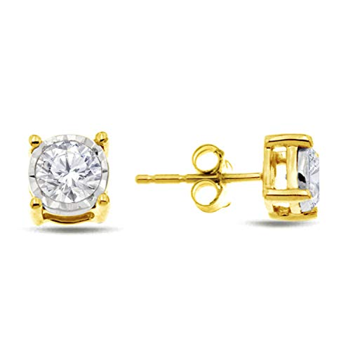 Natalia Drake Yellow Gold Plated Sterling Silver Miraculous Diamond Stud Halo Earrings (.50ctw, H-I Color, I1-i2 Clarity)
