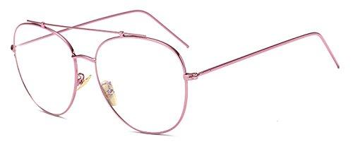 GigaMax TM Metal Frame Eyewear Full Frames Eye glasses Women Super Star Designer Glasses Unisex Plain Eyeglass for Women Men Oculos De Grau[ Pink ()