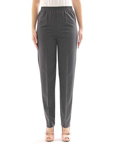 Pantalon femmes schlupfform chaud laine Collants ceinture extensible à plis - gris, 46(Deutschland) - 54(Italien)