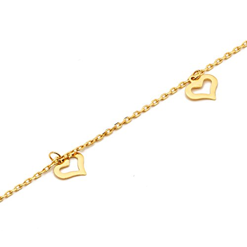 LOVEBLING 10K Yellow Gold .50mm Diamond Cut Rolo Chain with 8 Heart pendants Anklet Adjustable 9'' to 10'' (#12) by LOVEBLING (Image #3)'