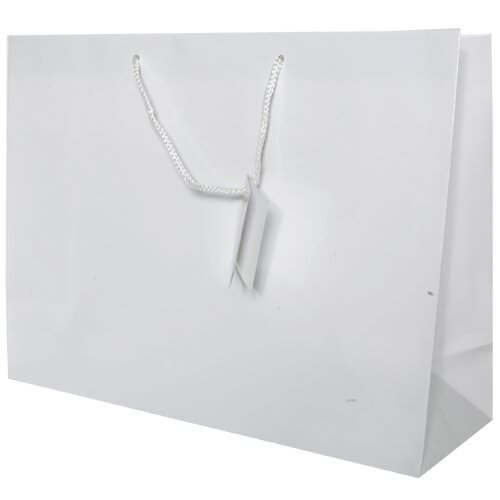 """JAM Paper® Gift Bags - X-Large Horizontal - 17"""" x 13"""" x 6"""" - White Glossy - Sold Individually"""