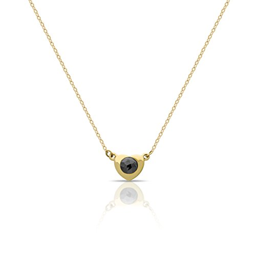 """Solid 14K Gold Elegant Heart Necklace w Black Diamond 0.15 carat for Mom 14k Gold Heart Pendant for Sister Solid Gold Necklaces 16inch + 2"""" Ext w Clasp"""
