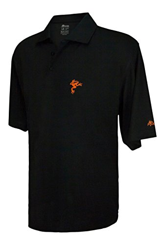 (Frogger Golf Fly Dry Performance Golf Polo Shirt - Black/Orange - X Large)