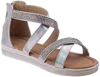41aeb292d9aa1 Kensie Girl Silver Patent Rhinestone Encrusted Strap Back Zip Sandals 11-4  Kids