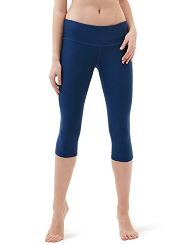 TSLA Yoga 17 Inches Capri Mid-Waist Pants w Hidden Pocket, Yogabasic Thick Midwaist(fyc21) - Navy, Medium (Size 8-10_Hip39-41 Inch).