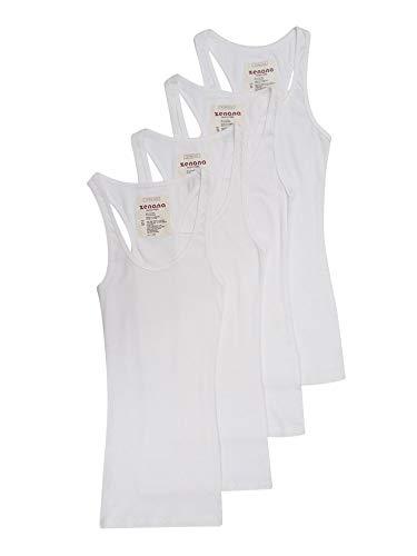 4 Pack Zenana Women's Ribbed Tank Top Med, White