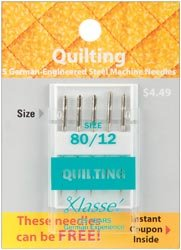 Bulk Buy: Klasse Quilting Machine Needles 80/12 5/Pkg A5106-8012 (5-Pack) (Klasse Quilting Needles compare prices)