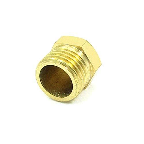1//4 PT Threaded Diameter Brass Internal Hex Head Pipe Plug Gold Tone
