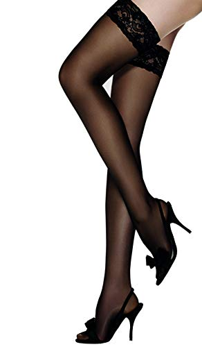 Thigh High Stay Up Silicone Lace Top Stockings (Medium, Black) ()