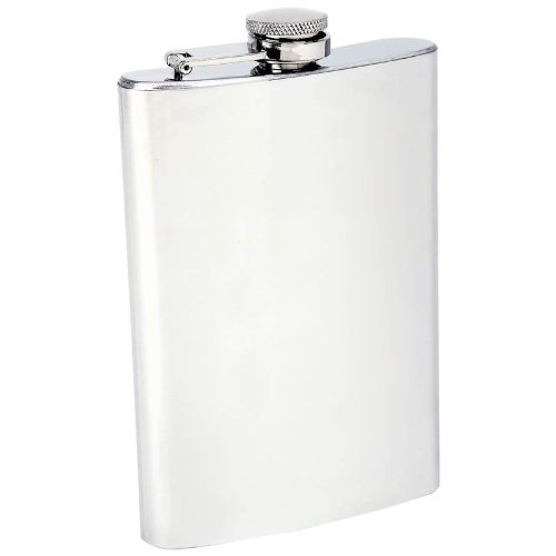 Maxam KTFLSKM8 Stainless Steel Flask with Polished Finish Top Bottom Sides White Box, 8 oz