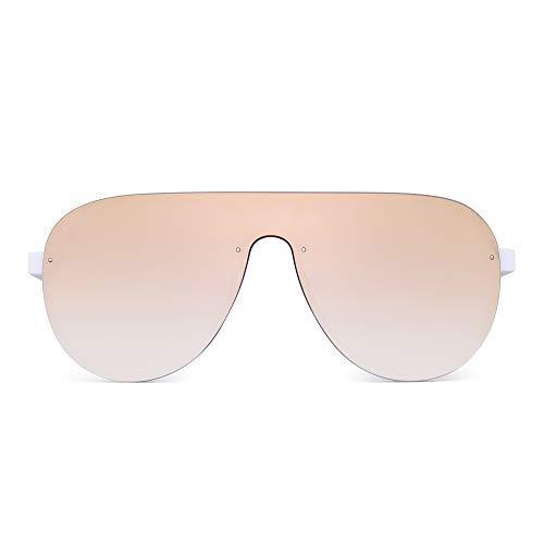 - JIM HALO One Piece Shield Sunglasses for Men Women Flat Top Rimless Mirror Lens (White Frame/Mirror Pink Lens)