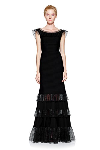 Tadashi Shoji Women's Ruffle Off the Shoulder Gown V Back, Black, L