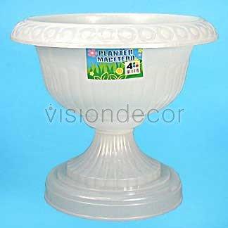Amazon 17 white plastic pedestal style planter flower pot urn 17quot white plastic pedestal style planter flower mightylinksfo