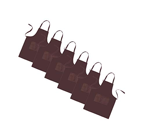 (LOYHUANG Total 6PCS Brown Bib Apron Adult with 2 Pockets for Women Men Chef Cooking Kitchen (6, Brown))
