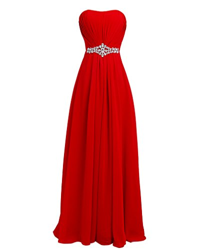 FAIRY COUPLE Women's Strapless Chiffon Elegant Graduation Homecoming Ball Gown Dresses D004 US6 Red