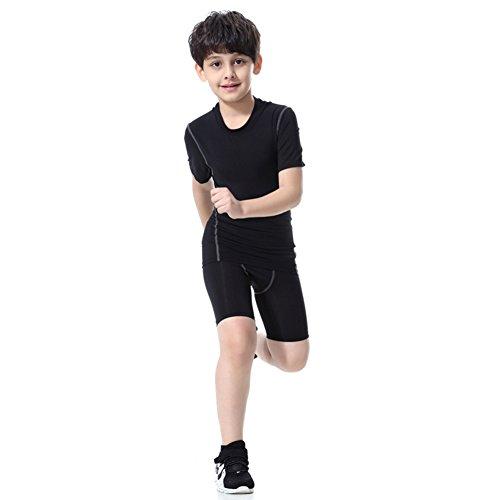 LANBAOSI Boy's Compression Shirts Pants Child's Short Sleeve Base Layer Set Black Set 10 ()
