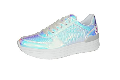 ROXY ROSE Platform Shoes for Women Quilted Shoelaces Square Toe Fashion Sneaker (8 B(M), Hologram Pink) ()
