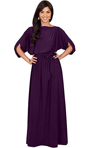 KOH KOH Womens Long Flowy Casual Short Half Sleeve with Sleeves Fall Winter Floor Length Evening Modest A-line Formal Maternity Gown Gowns Maxi Dress Dresses, Purple L 12-14 ()
