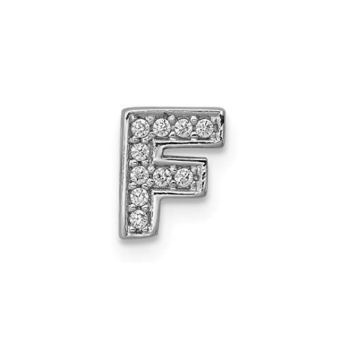 (925 Sterling Silver Cubic Zirconia Cz Letter F Slide Pendant Charm Necklace Chain Initial Fine Jewelry For Women Gift)