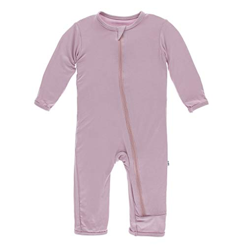 Kickee Pants Little Girls Solid Coverall with Zipper - Sweet Pea, 6-9 Months