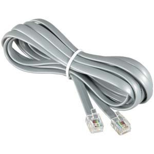 InstallerParts RJ12 Modular Telephone Cord Extension-- Reverse Wiring, Silver (25FT) (Lightning Audio Amp Wiring Kit)
