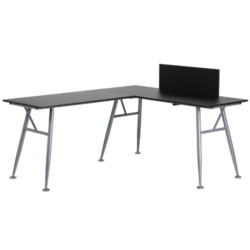Flash Furniture Black Laminate L-Shape Computer Desk with Silver Frame Finish by Flash Furniture