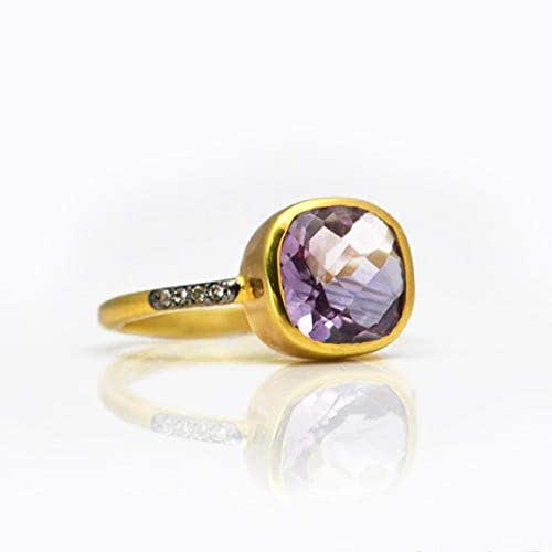 Amazon.com: Purple Amethyst pave ring, white topaz paved