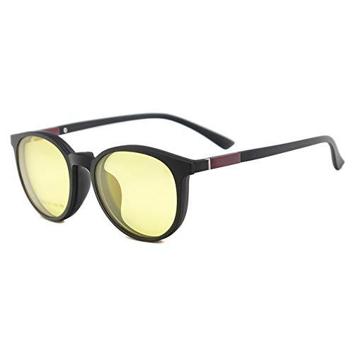 Flexible Plastic Women Round Retro Polarized Clip On Sunglasses Driving ()