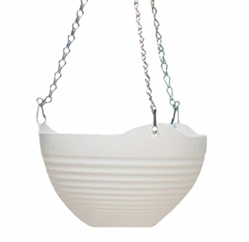Hanging Flower Plant Pot Chain Basket Planter Holder - Garden Patio Decor - White (Hanging Basket Flower Pots compare prices)
