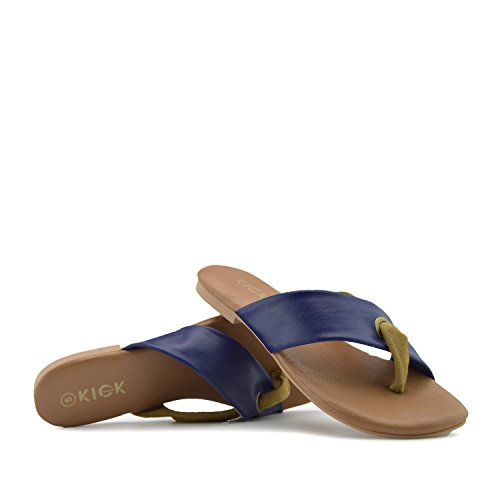 Cuoio Estivo Comfort Sandali Donna di Navy Tan Kick Footwear IxqwEYwt