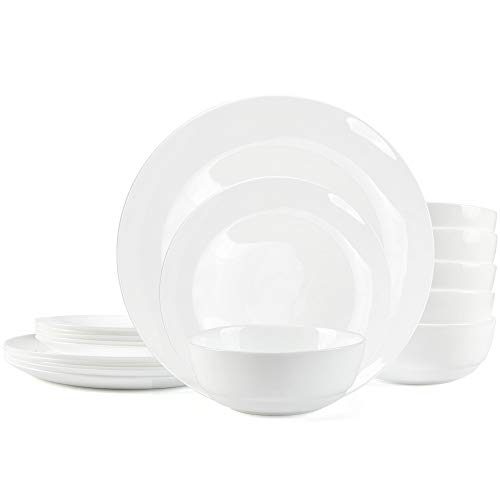 Dinnerware Set Danmers 18-piece Opal Dishes Sets Service for 6 Plates Bowls 5.5″ Break and Crack Resistant Dish Sets