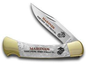 Buck 110 Marines Custom White Pearl Corelon Folding Hunter Knives ()